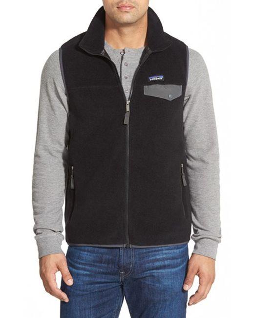 Patagonia   Black 'synchilla Snap-t' Zip Fleece Vest for Men   Lyst
