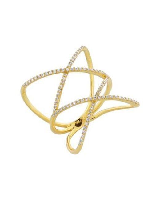 Bony Levy   Metallic Diamond Double Crisscross Ring (nordstrom Exclusive)   Lyst