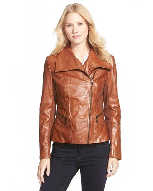 Bernardo | Brown Wing Collar Leather Moto Jacket | Lyst
