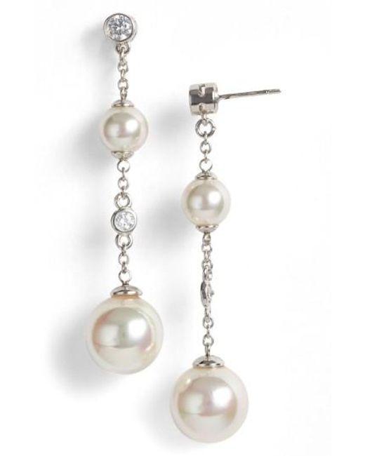 Majorica | Metallic Pearl & Cubic Zirconia Linear Earrings | Lyst