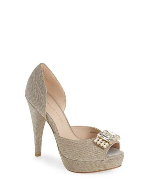 Pelle Moda | Metallic 'Vaughn' Open Toe Pump | Lyst