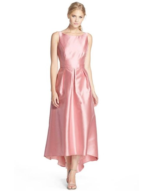 Alfred Sung | Pink High/low Hem Sateen Twill Open Back Gown | Lyst