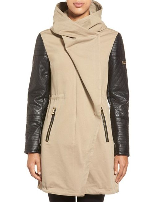 Vince Camuto | Natural Faux Leather Sleeve Asymmetrical Anorak | Lyst