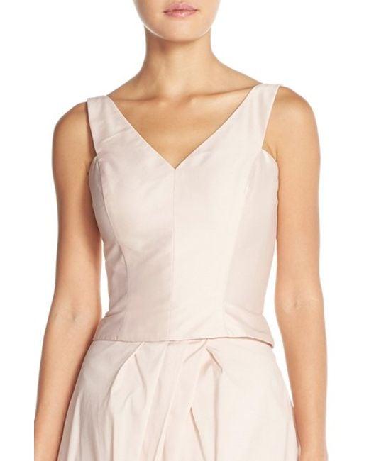 Monique Lhuillier Bridesmaids | Pink Taffeta V-neck Top | Lyst