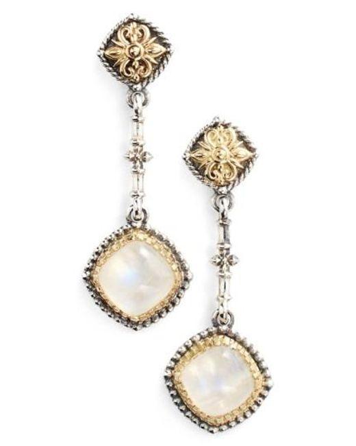 Konstantino | Metallic 'erato' Square Stone Drop Earrings | Lyst