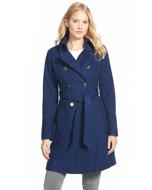 Guess | Blue Wool Blend Trench Coat | Lyst