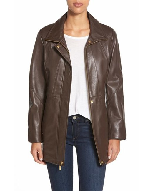 Ellen Tracy | Brown Zip Front Leather Coat | Lyst