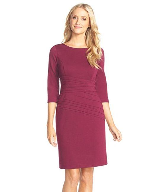 Ellen Tracy | Red Seamed Ponte Sheath Dress | Lyst