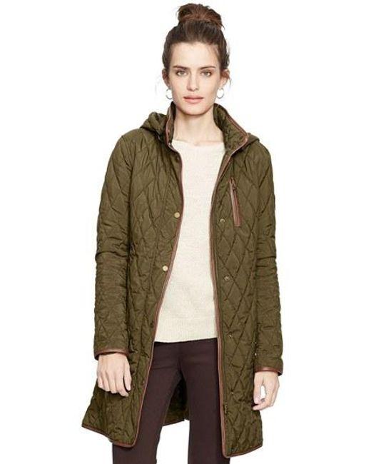Lauren by Ralph Lauren | Green Faux Leather Trim Quilted Coat | Lyst