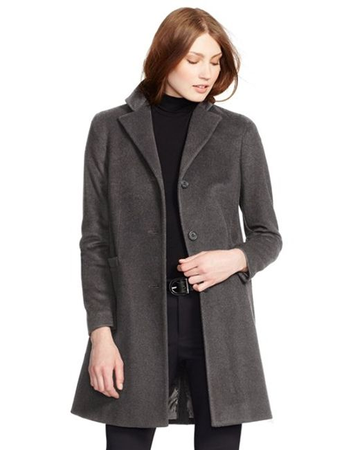 Lauren by Ralph Lauren | Gray Reefer Wool-Blend Coat | Lyst