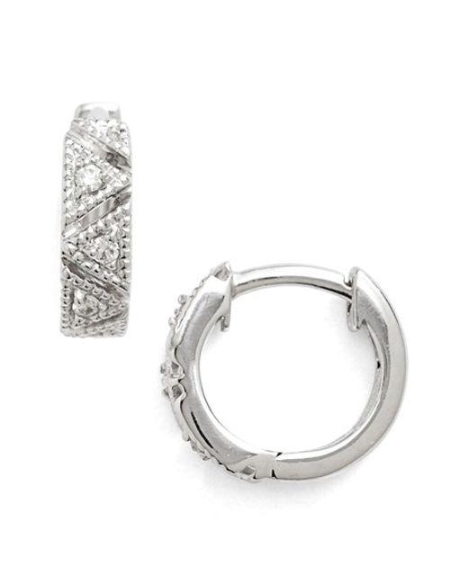 Dana Rebecca   White 'kathryn Lynn' Diamond Hoop Earrings   Lyst
