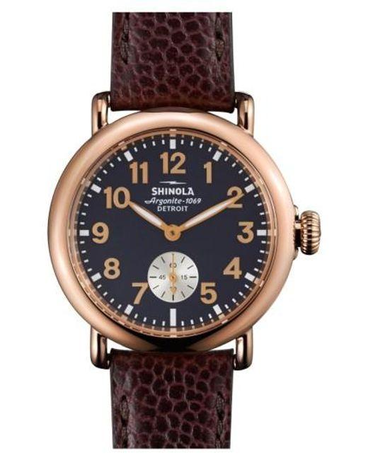 Shinola | Blue 'the Runwell' Leather Strap Watch | Lyst