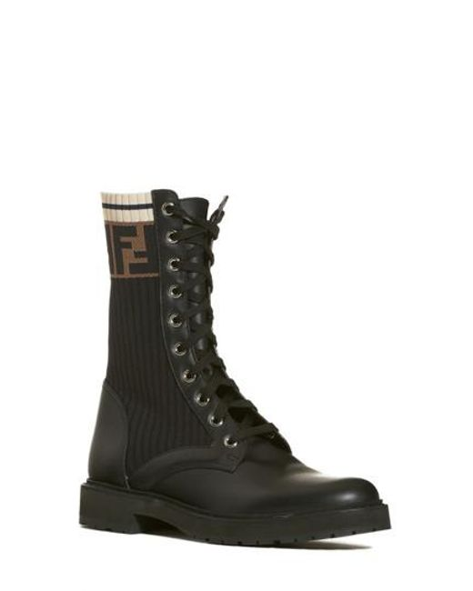Fendi - Black Rockoko Chelsea Sock Combat Boot for Men - Lyst