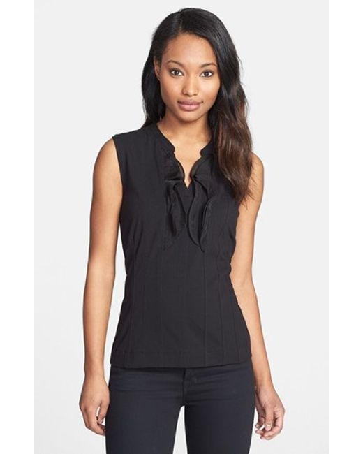 NIC+ZOE | Black Ruffle Trim Top | Lyst