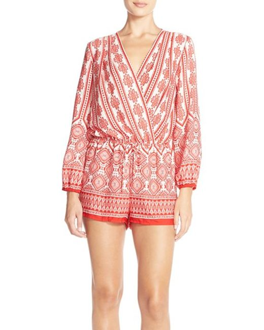 Fraiche By J | Red Print Long Sleeve Romper | Lyst