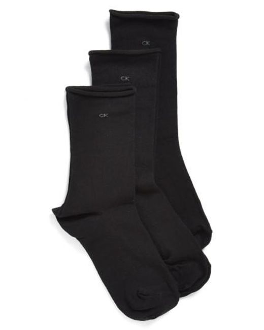 Calvin Klein | Black Roll Top Crew Socks | Lyst