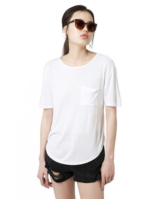 TOPSHOP | White Pocket Tee | Lyst