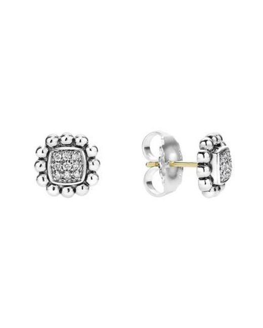 Lagos - Metallic Caviar Spark Diamond Square Stud Earrings - Lyst