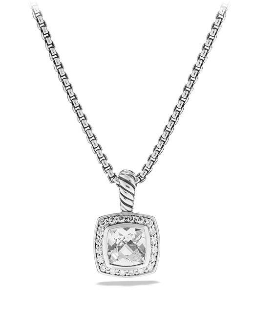 David Yurman Metallic Petite Albion Pendant With White Topaz And Diamonds On Chain
