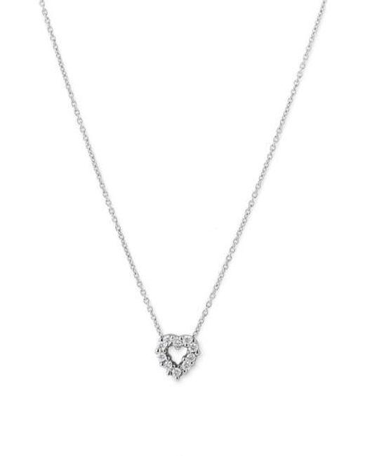 Roberto Coin | Metallic Tiny Treasures Diamond & 18k White Gold Large Circle Pendant Necklace | Lyst