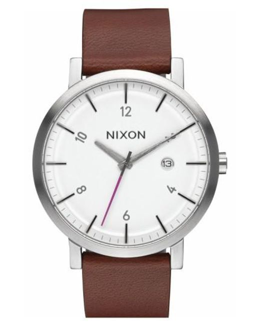 Nixon | Brown 'rollo' Leather Strap Watch for Men | Lyst