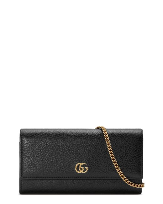 Gucci Black Marmont Leather Continental Wallet On A Chain