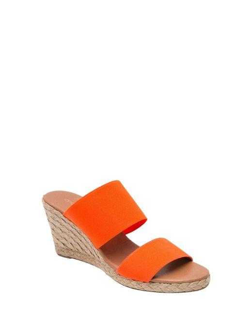 Andre Assous Orange Amalia Strappy Espadrille Wedge Slide Sandal