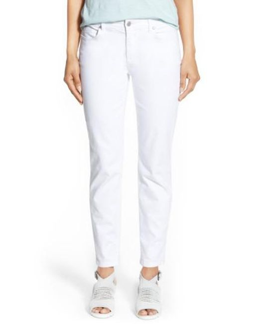 Eileen Fisher | White Stretch Organic Cotton Skinny Jeans | Lyst
