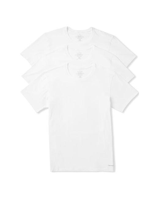 Calvin Klein White Cotton Crewneck T-shirt, (3-pack) for men