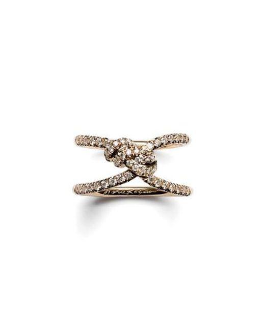 Nora Kogan - Metallic Diamond Yuki Shibari Knot Ring - Lyst