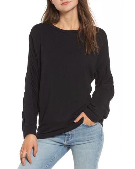 Project Social T | Black Ruched Sleeve Sweatshirt | Lyst