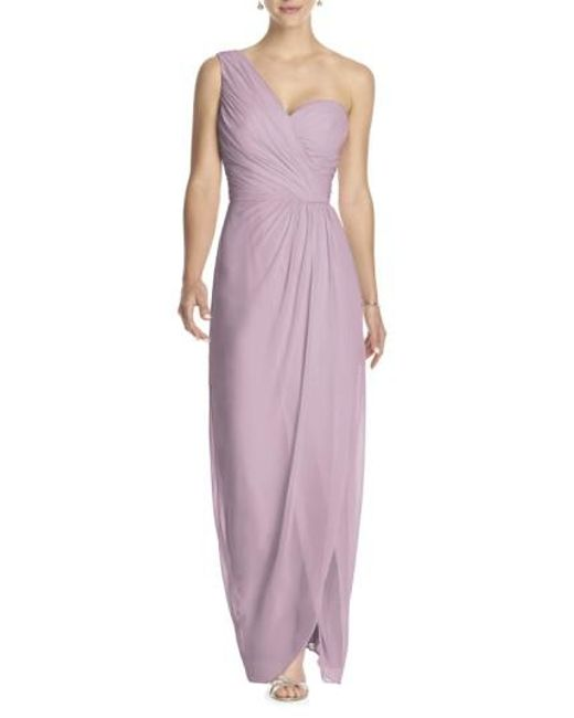 Dessy Collection - Pink One-shoulder Draped Chiffon Gown - Lyst