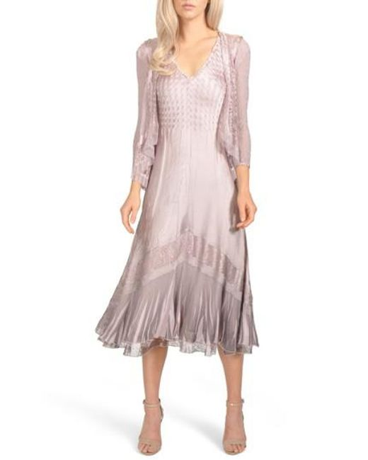 Komarov - Pink Lace Inset Charmeuse Dress With Jacket - Lyst