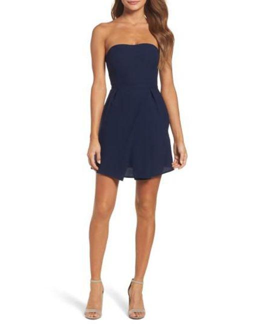 19 Cooper | Blue Strapless Crepe Minidress | Lyst