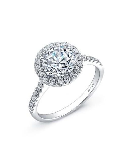 Bony Levy | White Pave Diamond Leaf Engagement Ring Setting (nordstrom Exclusive) | Lyst