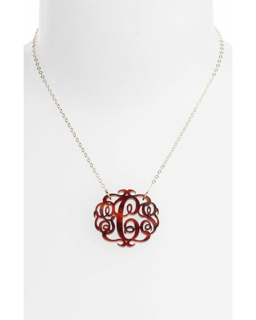 Moon & Lola - Red Medium Oval Personalized Monogram Pendant Necklace (nordstrom Exclusive) - Lyst