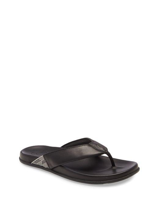 Olukai Black Malino Flip-flop for men