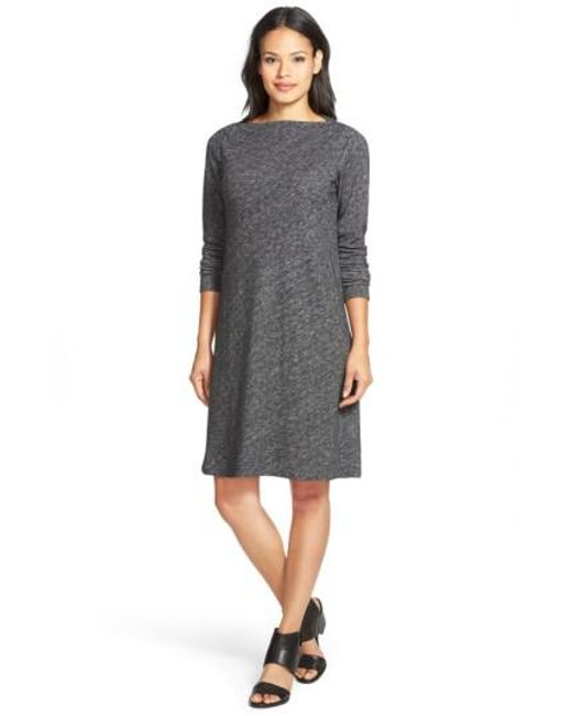 Eileen Fisher | Gray Bateau Neck Knit Shift Dress | Lyst
