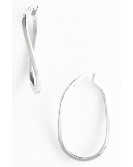 Roberto Coin | White Twisted Gold Hoop Earrings | Lyst
