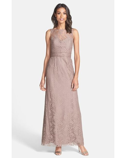 Amsale | Purple Illusion Yoke Lace Gown | Lyst