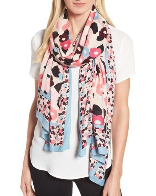 Kate Spade | Blue Blooming Oblong Scarf | Lyst