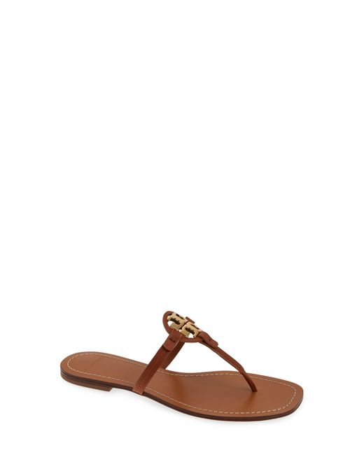 Tory Burch Black Miller Logo Leather Thong Sandals