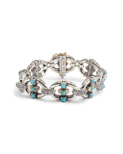 Konstantino Metallic Trillion Chain Link Stone Bracelet