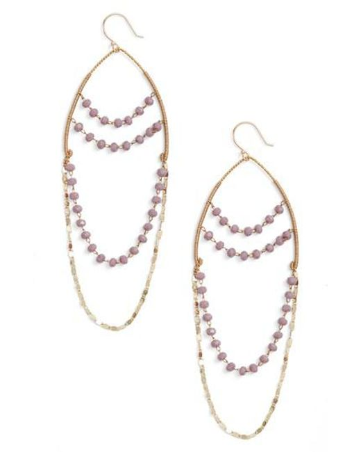 Serefina - Metallic Beaded Chandelier Drop Earrings - Lyst