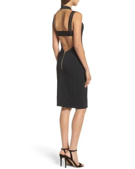 Maria Bianca Nero | Black Kendra Elastic Strap Low Back Sheath Dress | Lyst