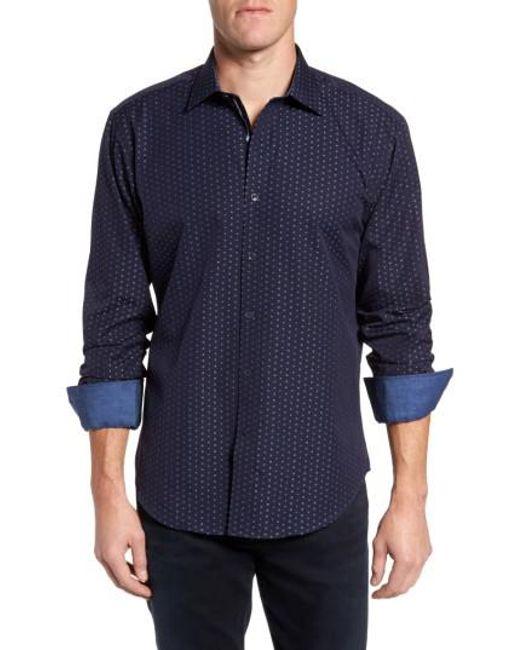 Bugatchi | Blue Shaped Fit Print Sport Shirt for Men | Lyst