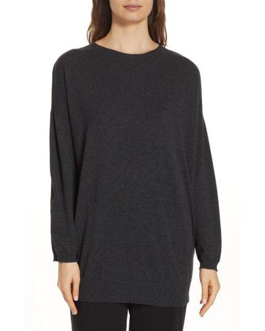 Eileen Fisher - Black Cashmere Tunic Sweater - Lyst