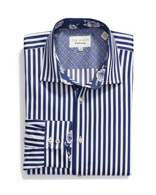 Ted Baker | Blue Endurance Trim Fit Dress Shirt for Men | Lyst