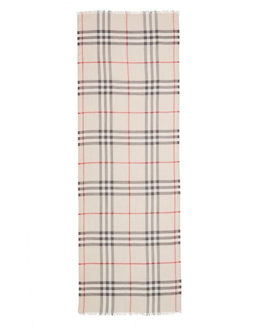 Burberry - Purple Giant Check Print Wool & Silk Scarf - Lyst