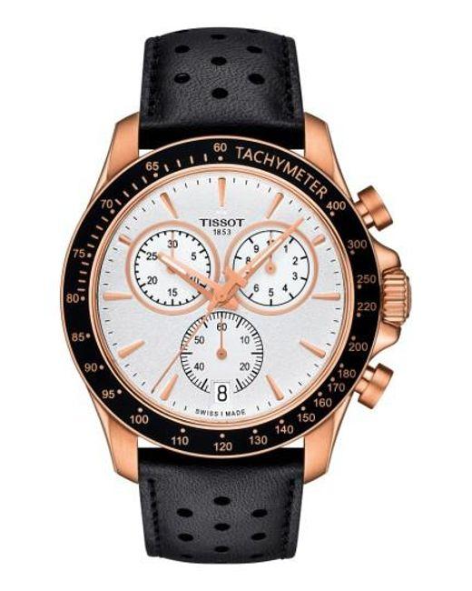 Tissot   Metallic V8 Chronograph Leather Strap Watch for Men   Lyst